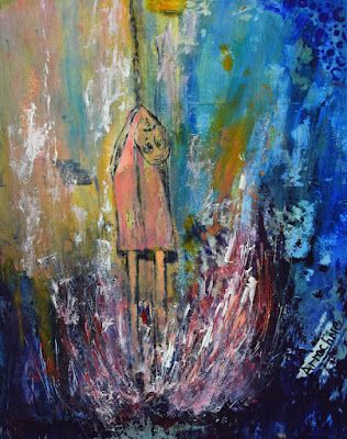 """Expressionism Painting, Contemporary Art, Abstract Figure """"Burn"""" by International Contemporary Abstract Artist Arrachme"""