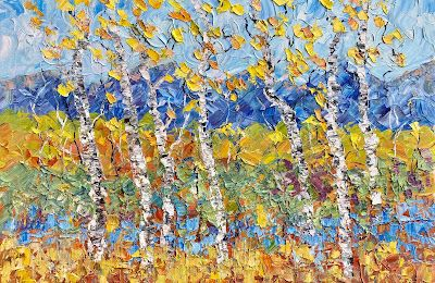"""Palette Knife Oil Colorado Landscape Painting """"Aspen and Happiness"""" by Colorado Impressionist Judith Babcock"""