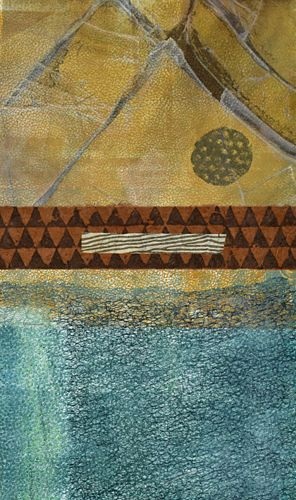 """Mixed Media Contemporary Abstract Painting """"Distant Mountains"""" by Santa Fe Contemporary Artist Sandra Duran Wilson"""
