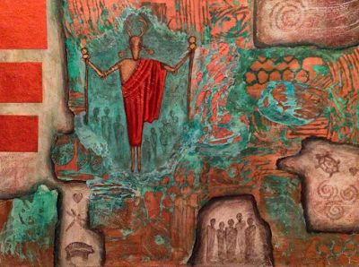 """Contemporary Abstract Mixed Media Art Paintings """"Copper Caverns"""" by Contemporary Arizona Artist Pat Stacy"""