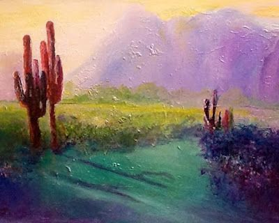 """Mixed Media Abstract Landscape Painting """"Desert Sunset"""" by California Artist Cecelia Catherine Rappaport"""