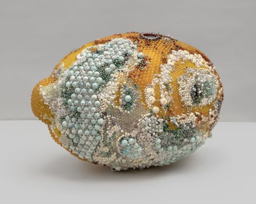 Moldy Fruit Sculptures Formed From Precious Gemstones Challenge Perceptions of Decoration and Decay