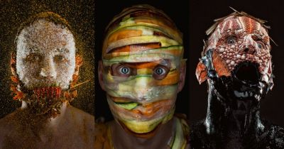 Creepy Portraits of a Chef Wearing His Menu Ingredients