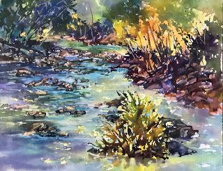 To The Voice Of Running Waters..Watercolor..Texas Artist ..Rae Andrews