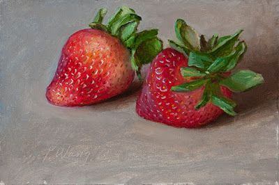 Strawberries daily painting a day small painting fruit contemporary realism