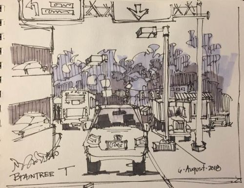 """Day 302 """"Braintree T - Pick Up"""" ink & marker 6 x 9"""