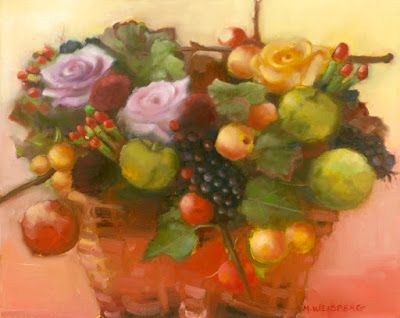 """Still Life Fine Art Oil Painting """"Basket of Fruit and Flowers"""" by Illinois Artist Marilyn Weisberg"""