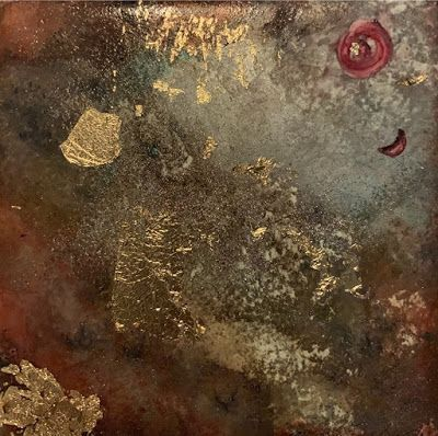 "Contemporary Painting, Mixed Media Art, Tile Art ""GALAXY TILE"" by Florida Contemporary Artist Mary Ann Ziegler"