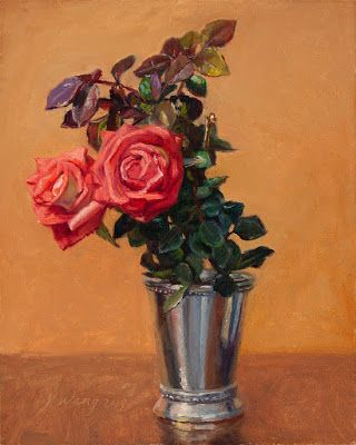 Pink rose flower flora still life oil painting a day