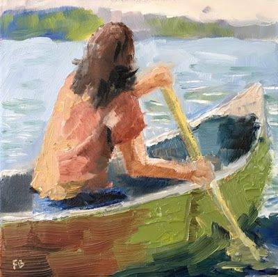 316 Canoe, Woman in Canoe Rowing on Lake by Fred Bell