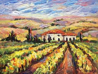 "New ""Ready for Harvest"" Tuscany painting by Contemporary Impressionist Niki Gulley"
