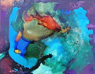 """Abstract Painting, Contemporary Art, Expressionism """"Seeing into the Blue Grotto"""" By Arizona Artist Cynthia A. Berg"""