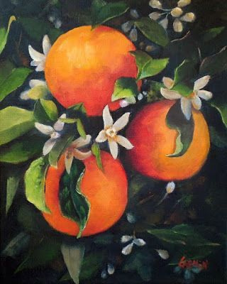 Sweet Orange Blossoms, 8x10 Oil on Canvas, Fruit Painting