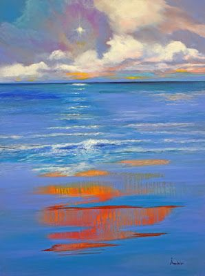 """Original Contemporary Abstract Seascape Painting """"The Secret of Heather"""" by International Abstract Realism Artist Arrachme"""