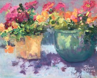 Contemporary Impressionistic Floral Palette Knife Original Plein Air Oil Painting by Sheri Jones