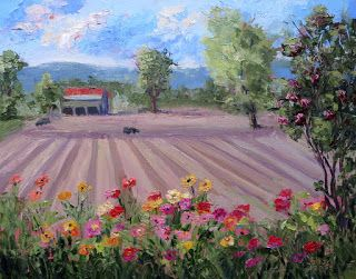A Day at the Farm, New Contemporary Landscape Painting by Sheri Jones
