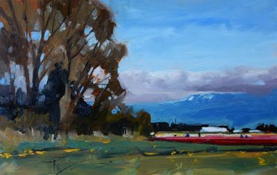 """A Slice of Color"" Skagit tulip field, plein air painting by Robin Weiss"