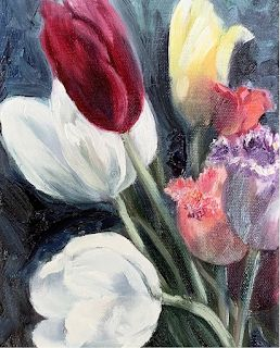 Tulips, by Melissa A. Torres, 5x7 oil on linen canvas