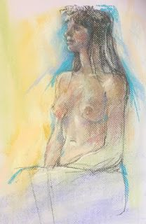 WREATH and WREATH COLORS - figurative pastel sketches by Susan Roden