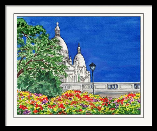 Sacre Coeur Cathedral Montmartre Paris France Watercolor Painting
