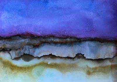 "Abstract Art, Contemporary Landscape, Alcohol Inks ""Desert Crater"" by Florida Contemporary Artist Mary Ann Ziegler"