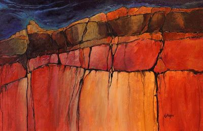 """Geologic Abstract Mixed Media Painting """"Grand Canyon 4"""" by Colorado Artist Carol Nelson"""