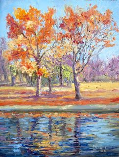 Autumn Light Reflections, New Contemporary Landscape Painting by Sheri Jones