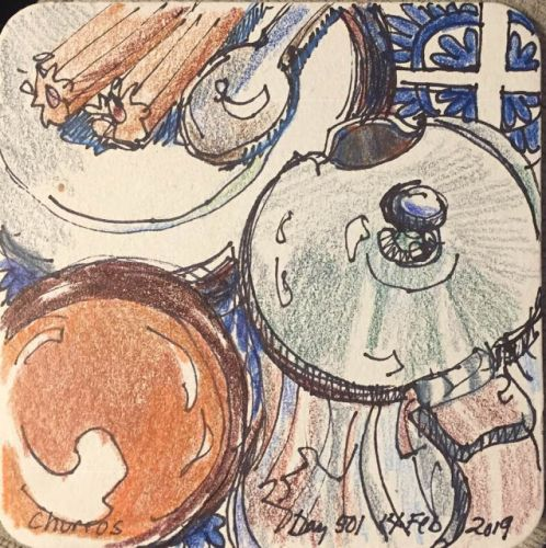 """Day 501 """"Churros"""" - coaster art with ink and pencil"""
