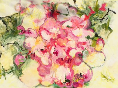 "Contemporary Abstract Expressionist Floral Painting ""FULL BLOOM"" by Contemporary Expressionist Pamela Fowler Lordi"