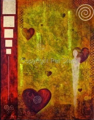 "Original Contemporary Abstract Mystical Figure,Hearts Mixed Media Painting ""VENUES MYSTIQUE"" by Contemporary Arizona Artist Pat Stacy"