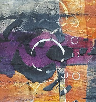 "Mixed Media, Contemporary Abstract Art ""CANYON LAND 1"" by Contemporary Artist Gerri Calpin"