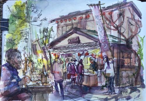 Jindaiji- temple visit with a sketcher from Townsville, Michael Pope