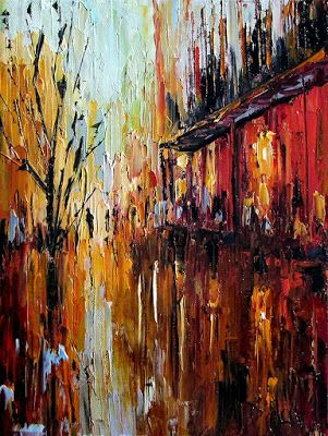 "Abstract Cityscape Art Street Scene pallet knife painting original painting ""Shopping"" by Debra Hurd painting by Debra Hurd"