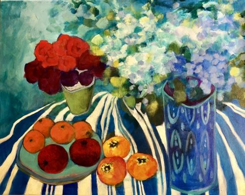 "Contemporary Expressionist Still Life Art,Bold Expressive Painting ""Pomegranates and Persimmons"" by Santa Fe Artist Annie O'Brien Gonzales"