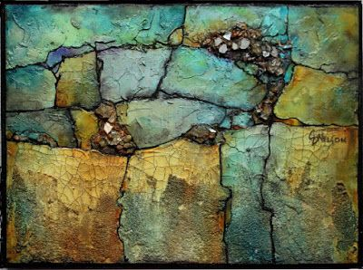 "Mixed Media Geologic Abstract Painting, Contemporary Art ""Crystal Find"" by Carol Nelson Fine Art"