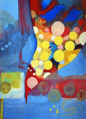 """Abstract Expressionism Painting, Colorful Contemporary Art """"Untethered Happiness 3"""" by International Abstract Realism Artist Arrachme"""