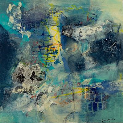 """Mixed Media Abstract Painting, Contemporary Art, Expressionism, """"Starlet"""" by Contemporary Artist Tracy Lupanow"""