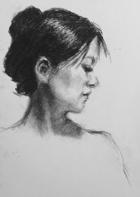 A Little Sketch of the Model - original charcoal portrait drawing