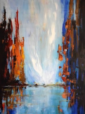 """Seascape Painting,Cityscape Painting """"City of Light 5"""" by International Contemporary Abstract Artist Arrachme"""