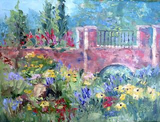 Bridge Garden, New Contemporary Landscape Painting by Sheri Jones
