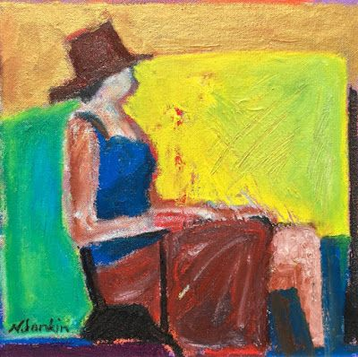 """Abstract Figurative Painting, Woman in Hat, Daydreamer """"Lost in Thought"""" by Oklahoma Artist Nancy Junkin"""