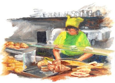 Queen of Genoa, Small Oil Painting on Canvas Panel of Woman in Italian Cafe 5x7