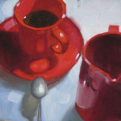 """Red cup and pitcher"" 6in x 6in oil"