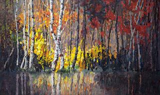 """New """"Forest's Edge"""" Palette Knife Painting by Niki Gulley"""