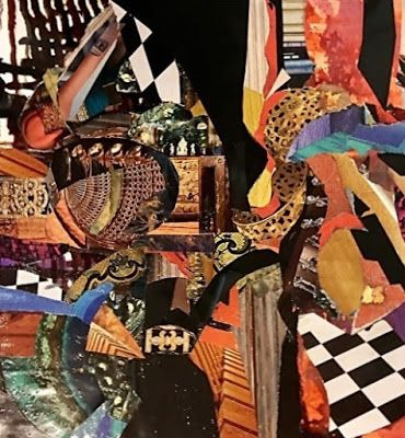 "Contemporary Abstract Art Painting, Mixed Media Collage ""Razzle Dazzle"" by New Orleans Artist Lou Jordan"