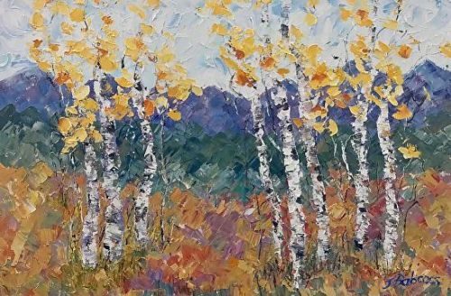 """Palette Knife Aspen Tree, Colorado Landscape Painting """"Beckoning of Spring"""" by Colorado Impressionist Judith Babcock"""