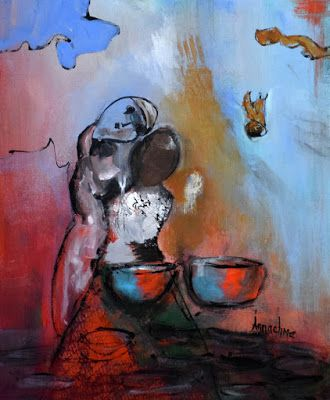 """Contemporary Abstract Expressionist Painting, Abstract Figure """"News of The World"""