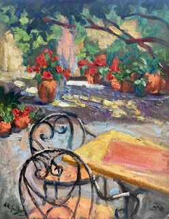 """""""Peaceful Courtyard"""" Oil Painting by Contemporary Impressionist Niki Gulley"""