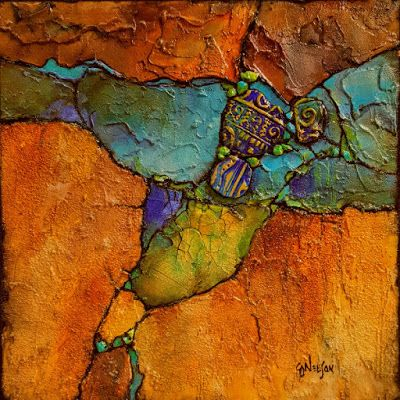 """Mixed media geologic abstract painting, """"Artifacts 2"""" © Carol Nelson Fine Art"""