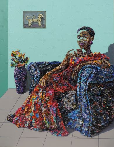 Tufts of Printed Fabric Form Colorful Mixed-Media Portraits by Marcellina Oseghale Akpojotor